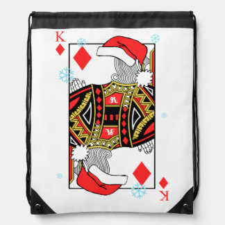 Merry Christmas King of Diamonds - Add Your Images Drawstring Bag