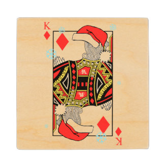 Merry Christmas King of Diamonds - Add Your Images Maple Wood Coaster