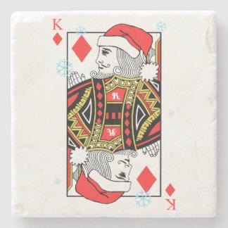 Merry Christmas King of Diamonds Stone Coaster
