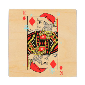 Merry Christmas King of Diamonds Wood Coaster