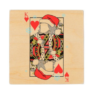 Merry Christmas King of Hearts - Add Your Images Wood Coaster