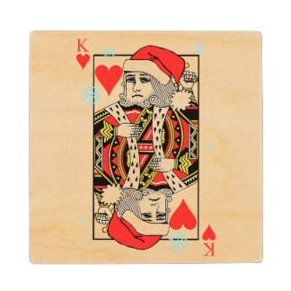 Merry Christmas King of Hearts Maple Wood Coaster