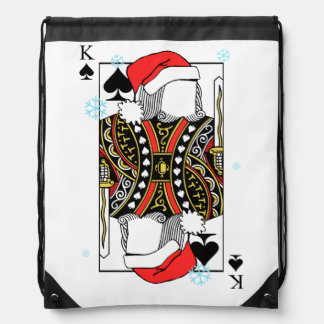 Merry Christmas King of Spades - Add Your Images Drawstring Bag