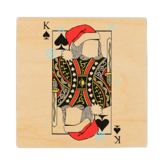 Merry Christmas King of Spades - Add Your Images Wood Coaster