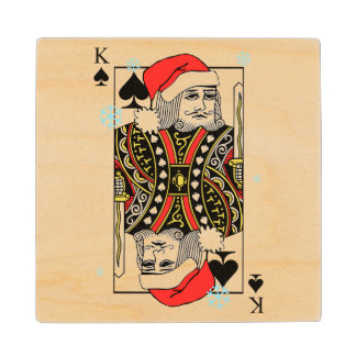Merry Christmas King of Spades Maple Wood Coaster