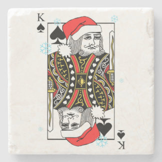 Merry Christmas King of Spades Stone Coaster