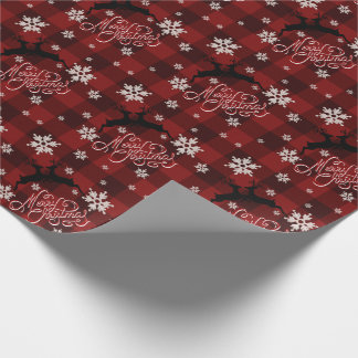 Merry Christmas Kissing Reindeer Red Buffalo Plaid Wrapping Paper