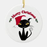 Merry Christmas Kitty Cat Double-Sided Ceramic Round Christmas Ornament