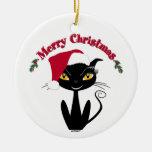 Merry Christmas Kitty Cat Round Ceramic Decoration