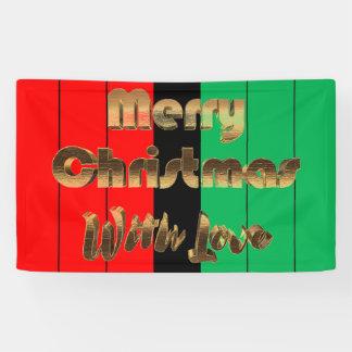 Merry Christmas Kwanzaa Striped Pattern Gold Text Banner