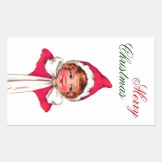 Merry Christmas Label - Little Girl In Red Cap Rectangular Sticker