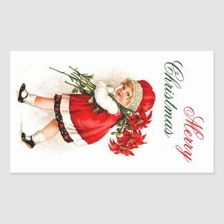 Merry Christmas Label - Little Girl Poinsettias Rectangle Stickers