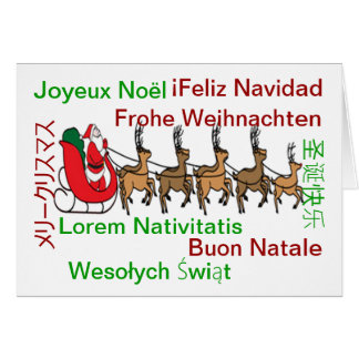 Merry Christmas Languages Card
