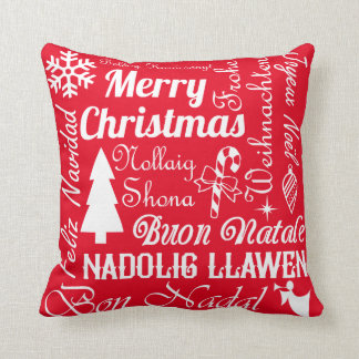 Merry Christmas Languages Red and Green Pillow