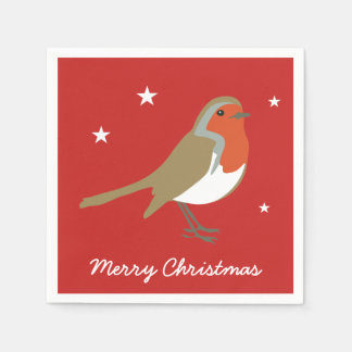 Merry Christmas Large Red Robin Napkins Serviettes Disposable Serviettes