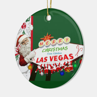 Merry Christmas Las Vegas SANTAS Ornament