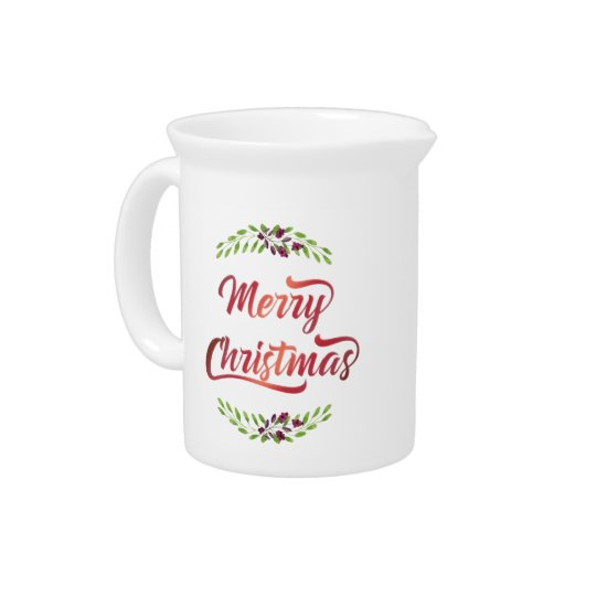 Merry Christmas Laurels Red ID293 Pitcher