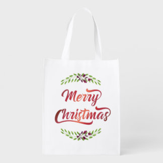 Merry Christmas Laurels Red ID293 Reusable Grocery Bag