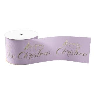 Merry Christmas Lavender Pastel Pink Rose Gold Grosgrain Ribbon