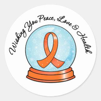 Merry Christmas Leukemia Ribbon Snowglobe Sticker