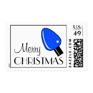Merry Christmas Light Bulb Postage (Blue)