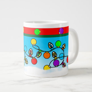 Merry Christmas Light Bulbs Design Large Coffee Mug