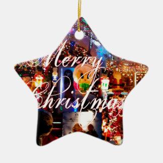 Merry Christmas Lights on House Ceramic Star Decoration