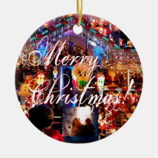 Merry Christmas Lights on House Round Ceramic Decoration