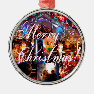 Merry Christmas Lights on House Silver-Colored Round Decoration