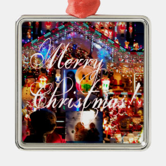 Merry Christmas Lights on House Silver-Colored Square Decoration