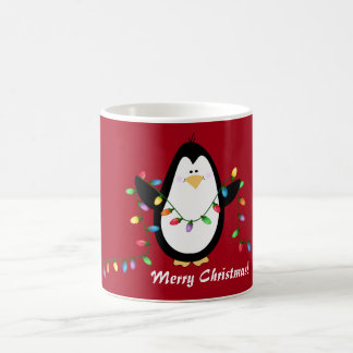 Merry Christmas Lights Penguin Holiday Mug