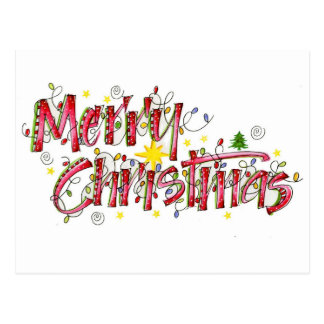 Merry Christmas lights Postcard
