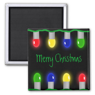 Merry Christmas Lights Square Magnet