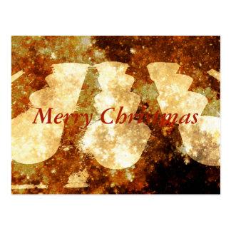 Merry Christmas Lights Starry Night Brown Gold Postcard