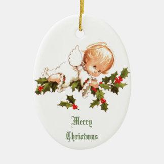 Merry Christmas Little Angel Ceramic Ornament