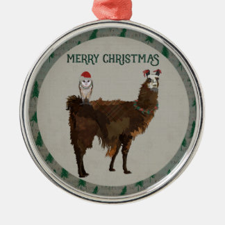 MERRY CHRISTMAS LLAMA & OWL Silver-Colored ROUND DECORATION