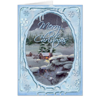 MERRY CHRISTMAS LOG CABIN by SHARON SHARPE Greeting Cards