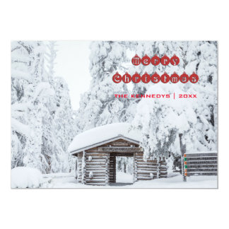 Merry Christmas - Log cabin entrance in Finland 13 Cm X 18 Cm Invitation Card