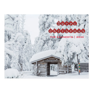 Merry Christmas - Log cabin entrance in Finland Postcard