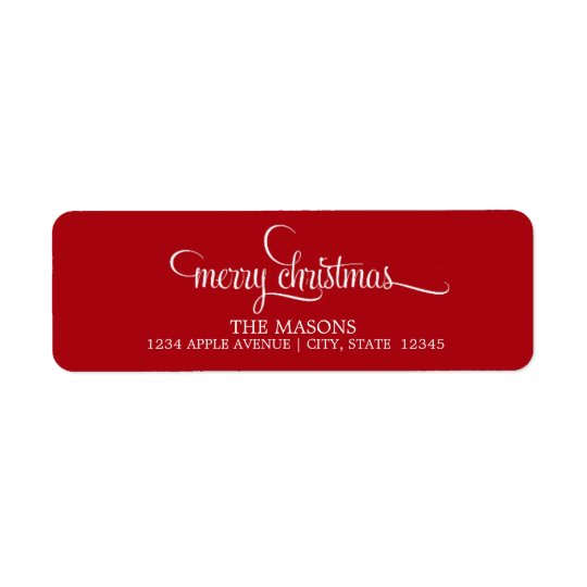 Merry Christmas Lowercase Script | Red Return Address Label