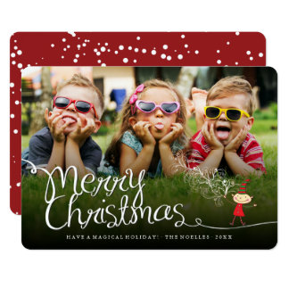 Merry Christmas Magical Fun Elf Holiday Photo Card