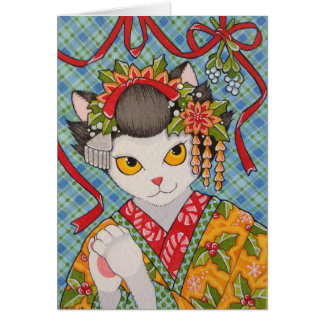 Merry Christmas Maiko Kitty Card