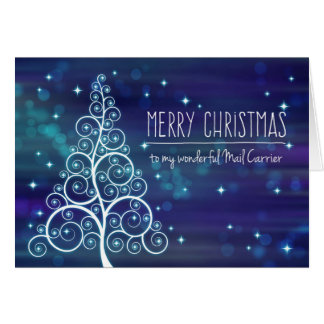 Merry Christmas Mail Carrier, Bokeh Effect & Tree Card