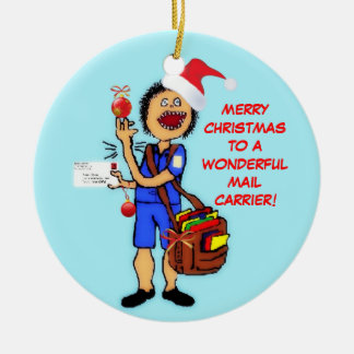 Merry Christmas Mail Carrier Round Ceramic Decoration