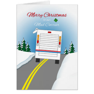 Merry Christmas Mailtruck for Mail Carrier Greeting Cards