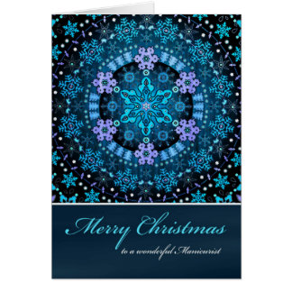 Merry Christmas Manicurist, Blue Boho Snowflakes Card