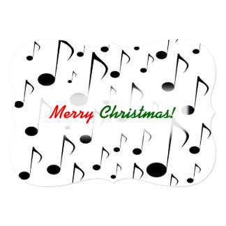 """""""Merry Christmas!"""" + Many Musical Notes Pattern Card"""