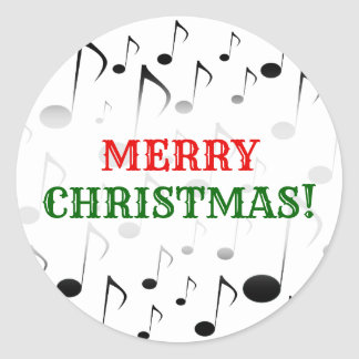 """""""Merry Christmas!"""" + Many Musical Notes Pattern Classic Round Sticker"""