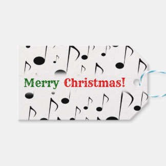 """""""Merry Christmas!""""; Many Musical Notes Pattern Gift Tags"""