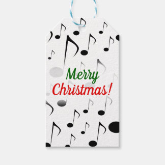 """""""Merry Christmas!"""" + Many Musical Notes Pattern Gift Tags"""